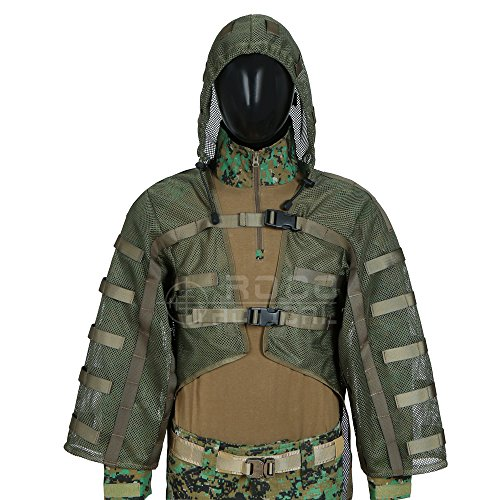 Airsoft Ghillie Hood, Sniper Tog Ghillie Suit Foundation, Compatible con Hidratación (Ejercito Verde)