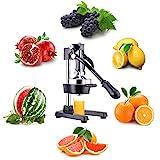 CO-Z Exprimidor Manual de Fruta Exprimidor de Zumo a Mano Prensa a Mano para Naranja Granada Limón Multifuncional de acero inoxidable (Negro)