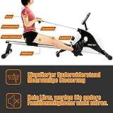 Crafteam Rudergerät, Klappbar Magnetbremssystem Mit 8-stufigem Widerstandsanpassungs-Fitnessgerät, Nutzergewicht Bis 130 Kg - 6