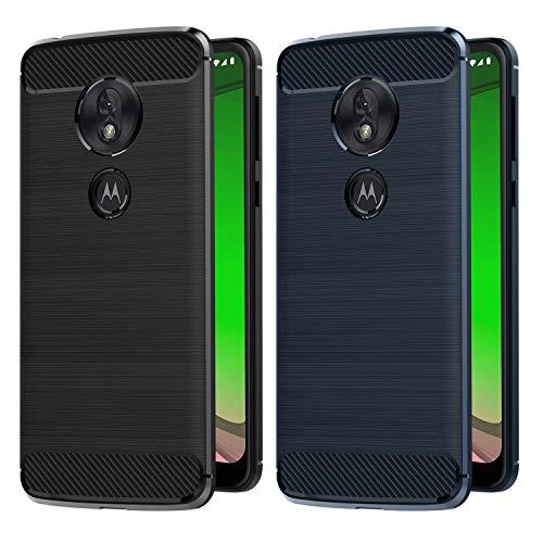 VGUARD [2 Unidades] Funda para Motorola Moto G7 Play, Diseño de Fibra de Carbon Ultra Fina TPU Silicona Carcasa Fundas Protectora con Shock- Absorción (Negro+Azul)
