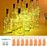 Wine Bottle Lights with Cork,20 LED Battery Operated Fairy String Lights Mini Copper Wire Bottle Lights for DIY, Party,Decor,Christmas,Thanksgiving Day,Wedding(Warm White 8 Pack)
