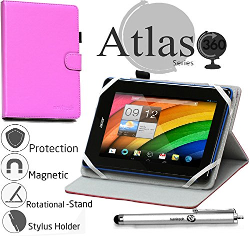 Navitech 7 Zoll lilanes Case/Cover mit 360 Rotierbare Stand Funktion und Stylus Stift für das Dell Venue 7 / LG G Pad 7.0