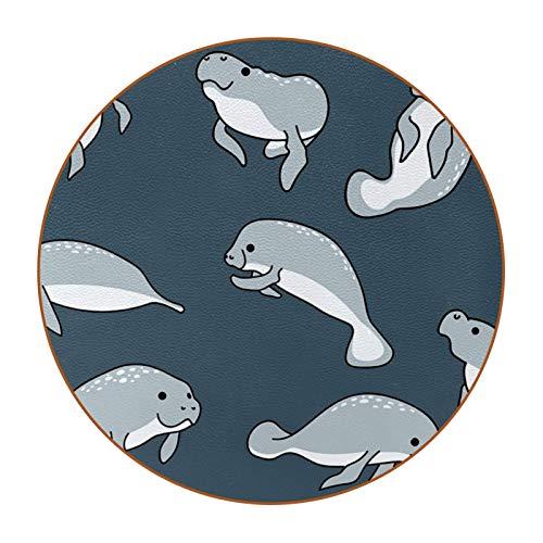 Bennigiry Juego de 6 posavasos de piel con diseño de animales de delfín