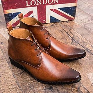 [Sooger] メンズロートップシューズカジュアルマット PUレザーローファーレースアップ 尖ったビジネス靴 ックスフォードブラック 高い靴 ドレスシューズ ビジネス靴 男の靴 騎士ブーツ ォーマルシューズ革靴 パーティー革靴 メンズロートップシューズカ