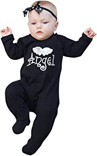 Newborn Infant Baby Boys Girls Fall Winter Jumpsuit Clothes Letter Embroidery Angel Wing Romper Onesie 3-24 Month