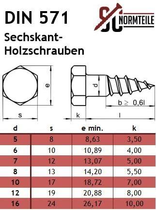 - SC571 // SC9021 Edelstahl A2 - Schl/üsselschrauben SC-Normteile/® DIN 571 // DIN 9021 6 x 65 mm - V2A // VA Sechskant Holzschrauben mit Unterlegscheiben 5 St/ück