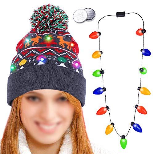 HOWAF LED Leuchten Weihnachtsmütz und leichte Halskette, 6 Bunten LED Strickmütze Beanie Mütze Wintermütze mit bommel für Männer Frauen Jungen Mädchen Weihnachten Neujahr