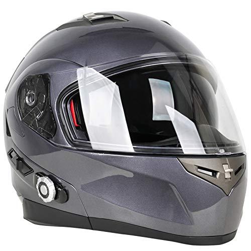 Bluetooth Integrado Casco,Abatible Casco Material Compuesto ABS Resistente Agua Polvo Certificación DOT/ECE Apto para Motocicletas Casco para Motocicleta E,L58~59cm