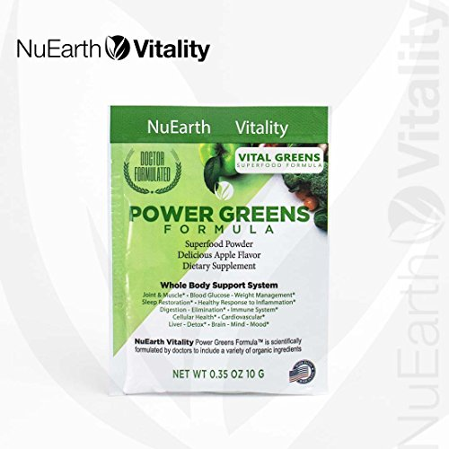 VITAL GREENS - Organic Superfood Powder Detox Formula - Best Tasting Blend of Plants, Fruits & Vegetables - All Natural Supplement with Probiotics & Enzymes - Antioxidant & Anti-inflammatory - 10Grams