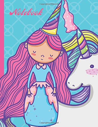 Notebook: Pink Hair Princess and Unicorn on Teal Cover / College Ruled 8.5x11 Letter Size / 120 Blank Lined Pages for Back To School / Work / Journaling / Writing / Note Taking