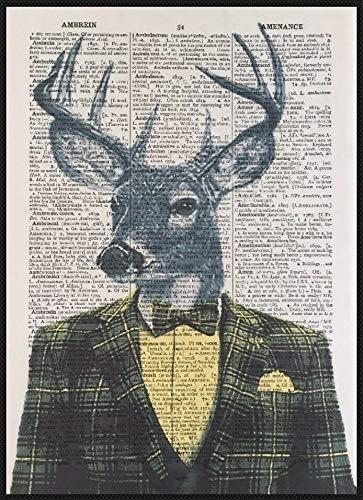 Parksmoonprints Vintage Cervo Testa di Cervo Stampa Dizionario Pagina Decorazione da parete Quadro Tartan Giallo