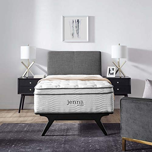 """Modway Jenna 14"""" Twin Innerspring Mattress - Top Quality Quilted Pillow Top - Individually Encased Pocket Coils - 10-Year Warranty"""