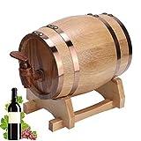 Barril de Envejecimiento de Roble, Mini Portátil Hogar de Madera de Roble Barril de Vino Barril Equipo de elaboración de cerveza casera Edad Whisky Vino (1 Litro)(Color Madera con Aro Dorado 1L)