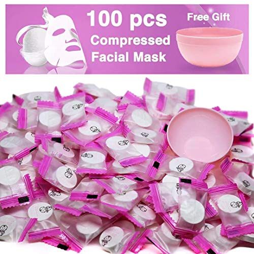100 pcs Compressed Facial Mask Sheet Beauty DIY Disposable Mask Paper Natural Cotton Skin Care Wrapped Masks Normal ThickGet a Small Mask Bowl Free