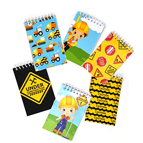 48 Count Construction Mini Notepads Birthday Party Construction Theme Supplies Truck Decorations for Kids Party Favors Toys Tractors, Dump Zone, Bulldozer Vehicles for Toddlers, Boys - Gift Boutique