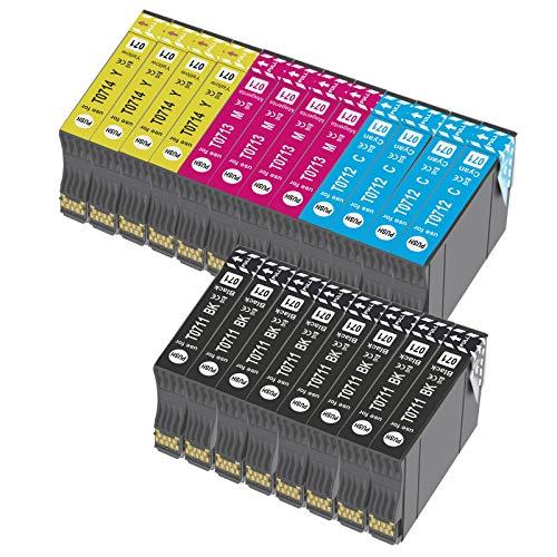 Bada T0715 - Cartucho de tinta compatible para Epson T0711, T0712, T0713, T0714, con Epson Stylus SX218 SX200 SX415 SX400 SX215 BX300F BX310FN SX210 SX215 SX218 DX4050 DX4400 SX100 SX105 SX110 20