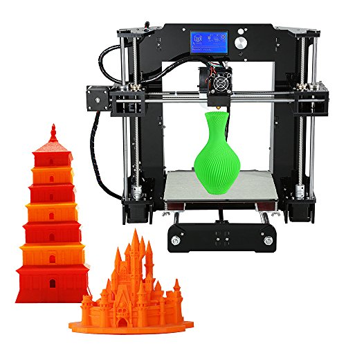 Anet A6 High Precision Big Size Desktop 3D Printer Kits Reprap i3 DIY Self Assembly LCD Screen with 16GB SD Card Printing Size 220*220*250mm Support ABS/PLA/HIP/PP/Wood Filament