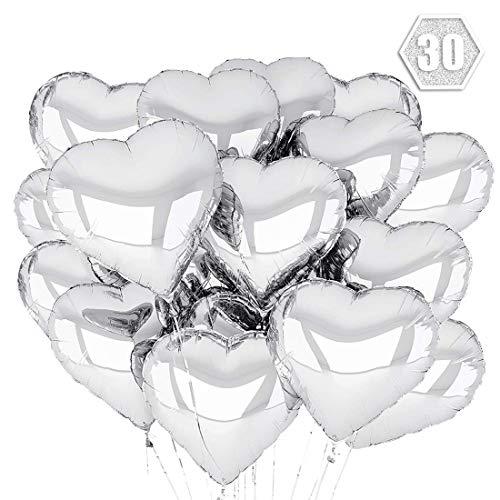 O-Kinee Herz Folienballon 30 pcs Herzballons Hochzeit Herz Heliumballons Herzluftballons für Party,Geburtstag,Valentinstag, Hochzeit, Verlobung,Muttertag Dekoration (Silber)