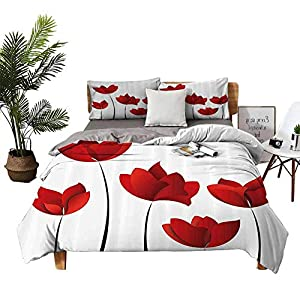 DRAGON VINES Four-Piece Bedding Pillowcase Bedding Cover Sets Valentines Inspired Exquisite Rose Petals Vivid Blossoms Florets Nature Illustration Red Apartment Dormitory