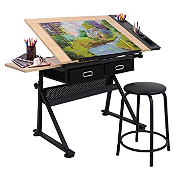 Adjustable Height Drafting Desk Drawing Table Tiltable Tabletop for Reading Writing Art Craft w/Stool and Drawers