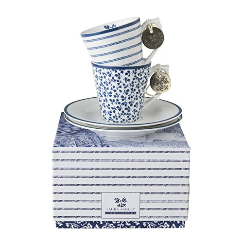 Laura Ashley - Espresso Tassen und Untertassen Set - Blueprint Candy Stripe - 4-teilig