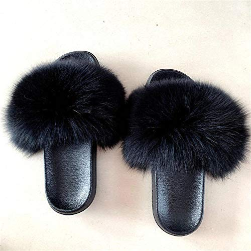 Zquest Zapatos de Piscina para niños, Pantuflas cómodas de Gran tamaño, Pantuflas de Felpa de Gamuza para Damas-Black_39