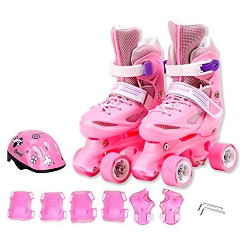 RENYAFEI Kinder Skates Zweireihige Schlittschuhe Einstellbare Größe Für Anfänger, Kinder Jungen Und Mädchen Rollschuhe (Mit Schutzausrüstung),Rosa,XS(29~29EU)