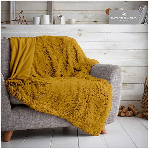 Gaveno Cavailia Hugg and Snugg Teddy-Fleece-Decke für Sofa, Bett, superweich, flauschig, pflegeleicht, dekorativer Überwurf, kuschelig warm, für Doppelbett 150 x 200 cm, Ocker