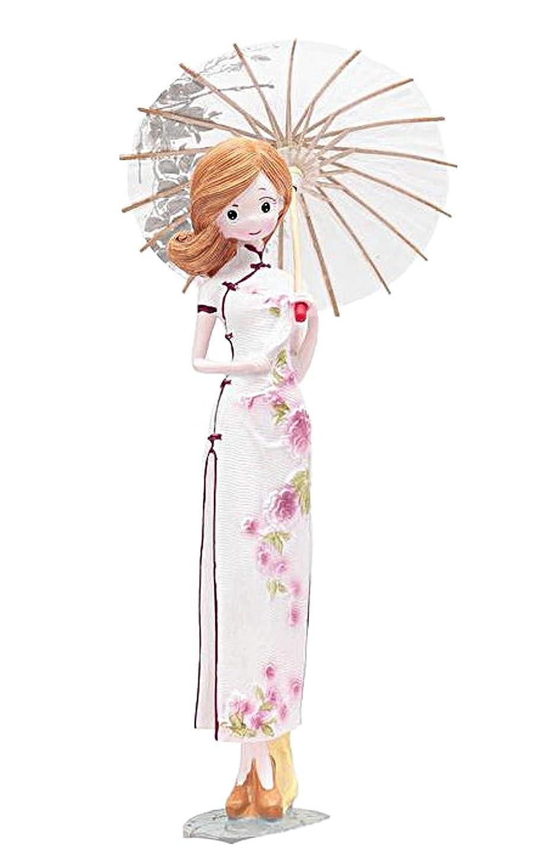 スタウト夕食を食べる結晶[リトルスワロー] チャイナ 服 少女 人形 ドール インテリア 中国人形 置物 (ホワイト)