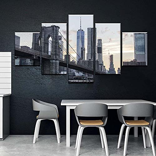 KOPASD 5 Teilig Leinwand Modern Wand New York Wolkenkratzer Landschaft Kunstdruck Aufhängen Home Decoration Bild Design Hd Leinwandbild 5 Teilig Wohnkultur Modulare Vlies Leinwandbild