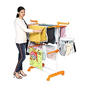 Happer Premium 2 Layer Cloth Drying Stand with Breaking Wheels, Compact Jumbo (orange) Stainless Steel Plastic