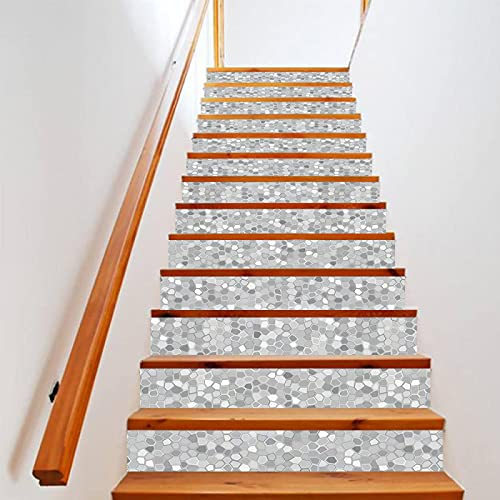 tzxdbh losetas vinilo para escaleras Gris mosaico 100CMx18CMx13pieces(39.3'w x 7'h x 13pieces) Ecológicas PVC Autoadhesivas Calcomanías para Escalera Impermeables Extraíbles para Decoración de La Sala