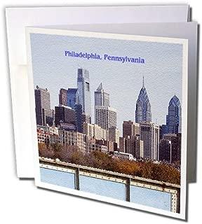 3dRose Philadelphia Skyline (Textured) - Greeting Cards, 6 x 6 inches, set of 12 (gc_55313_2)