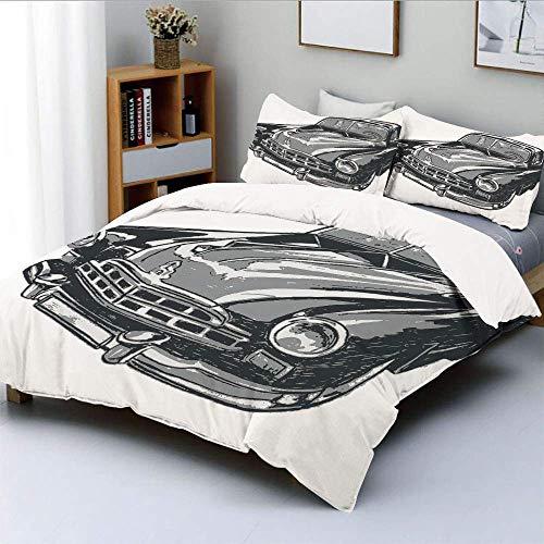 Juego de funda nórdica, vehículo vintage dibujado a mano con luces detalladas en la parte delantera del capó, espejo retrovisor, juego de cama decorativo de 3 piezas con 2 fundas de almohada, gris azu