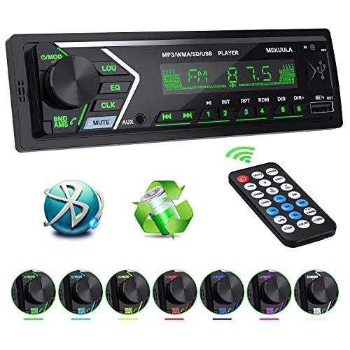Autoradio Bluetooth Stereo Auto Ricevitore 7 Luci a Colori e Telecomando 60W x 4 Auto FM Car Radio,Universal Lettore MP3 Supporto USB/TF/AUX/WMA/WAV/FLAC/APE,Display LCD con Orologio ,Carica rapida