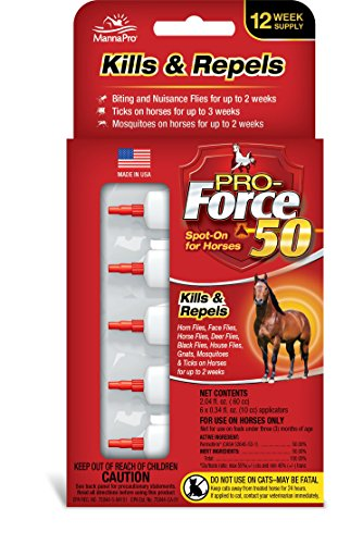 Manna Pro Pro-Force 50 Spot-On Fly Control for Horses, 6Count