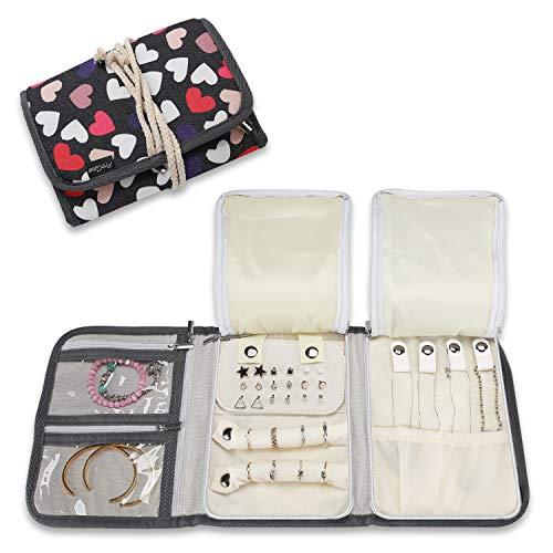 ProCase Schmuckrolle Organizer Tasche für Reise, Faltbare Tragbare Schmuckaufbewahrungstasche für Halsketten Ohrringe Armbänder Ringe Ketten Broschen und mehr, Herz-Muster