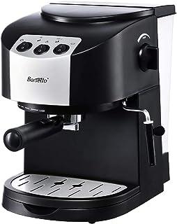 Barsetto Cafetera de espresso 15 bar, 2 en 1, con espumador de leche para capuchino/latte macchiato/moca, 1050W