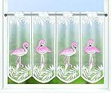 KAMACA Bistrogardine Küchengardine Flamingos individuell in der Breite kürzbar Halbtransparent Breite 145 cm/Höhe 45 cm Scheibengardine (Flamingo)