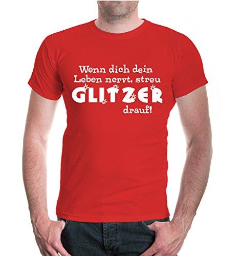 buXsbaum® Herren Unisex Kurzarm T-Shirt bedruckt Wenn dich dein Leben nervt, streu Glitzer drauf | Spruch Mädchen Funny | XXXL red-white Rot