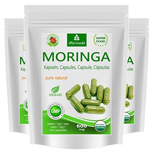 MoriVeda® Moringa Oleifera Kapseln 600mg, 360 St. I Moringa hochdosiert, mit Vitaminen, Proteinen & Aminosäuren in Ayurveda Spitzen-Qualität I Vegan & Glutenfrei I 3 x 120 Kapseln