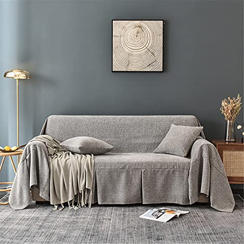 Cubiertas de sofá de Chenille - Cubiertas de sofá lavables suaves universales - Sofá funda de sofá Four Seasons Cojín Sofá cubierta - para Sofá Sofá cama Viajes,Light gray,200 * 360cm