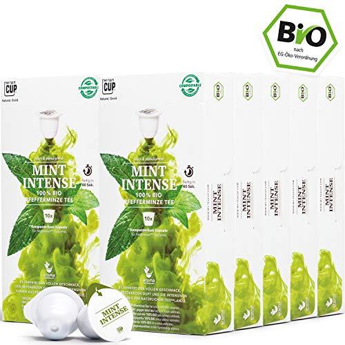 BIO Teekapseln von My-TeaCup   Kompatibel mit Nespresso®*-Maschinen   Industriell kompostierbare Kapseln ohne Alu (Pfefferminztee Mint Intense, 100 Kapseln)