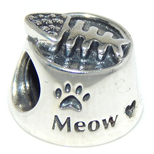 Solid 925 Sterling Silver 'Cat Bowl w/ Cz Fish Bones' Charm Bead 657 for European Snake Chain Bracelets
