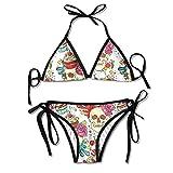 Skull Cupcake Bikini Women's Summer Swimwear Triangle Top Bikinis Swimsuit Sexy 2-Piece Set Black