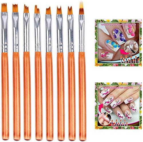 8Pcs/Set Nail Art Brushes Set,Pink Acrylic Nail Art Brush Sable Gel UV Nail Painting Drawing Pen (Yellow)