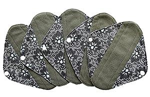 5 Pieces Charcoal Bamboo Mama Cloth/ Menstrual Pads/ Reusable Sanitary Pads