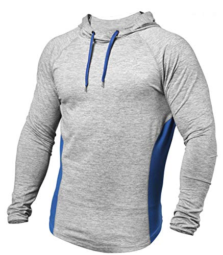 Men's Workout Hoodies Dry Fit Outdoor Lightweight Pullover Hooded Tops(Light Grey,M
