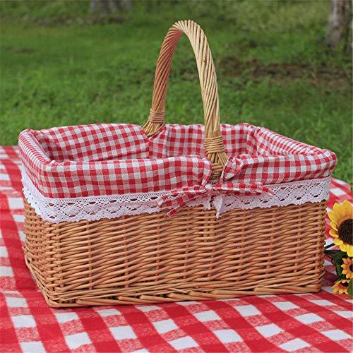 Picnic al aire libre cesta de mimbre del sauce cesta de mimbre cesta de picnic cesta de mimbre con asa y algodón de lino forrada de mimbre almacenamiento de ropa Basket-grande sin la cubierta + Forro