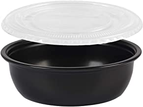 EDI Black Wide Plastic Disposable Portion Cups/Souffle Cup with Lids (100, 5.5 Oz Flat Cover)